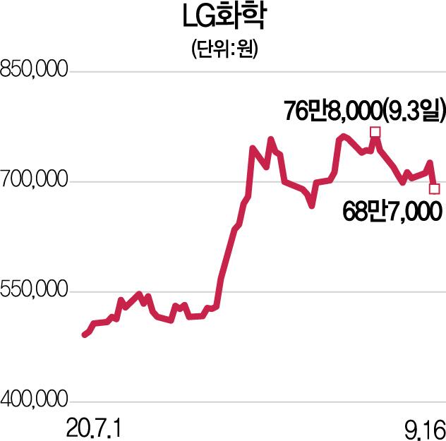 LG화학 주가 5% 빠졌지만…'배터리 자회사 상장땐 긍정적'