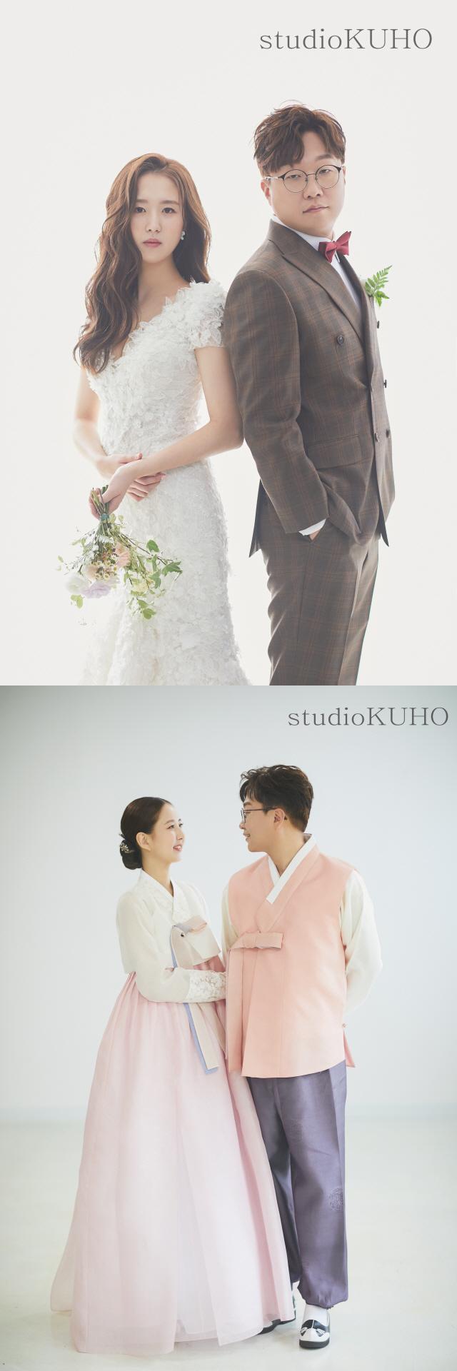 개그맨 박휘순, '17살 연하' 예비신부 천예지와 웨딩 화보 공개