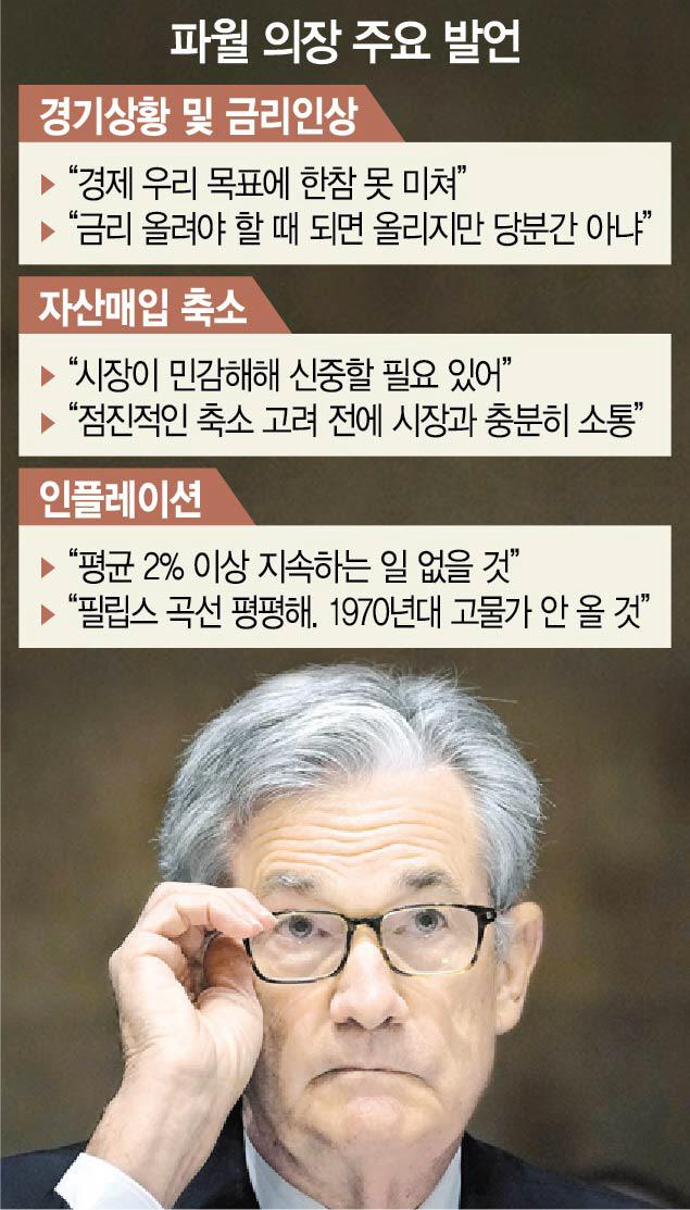 파월 '경제, 목표치에 한참 미달...금리 인상 없다'