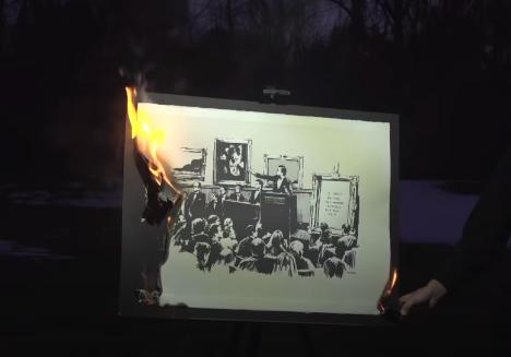 뱅크시 작품 'NFT'로 경매된다…실물 그림은 불태워