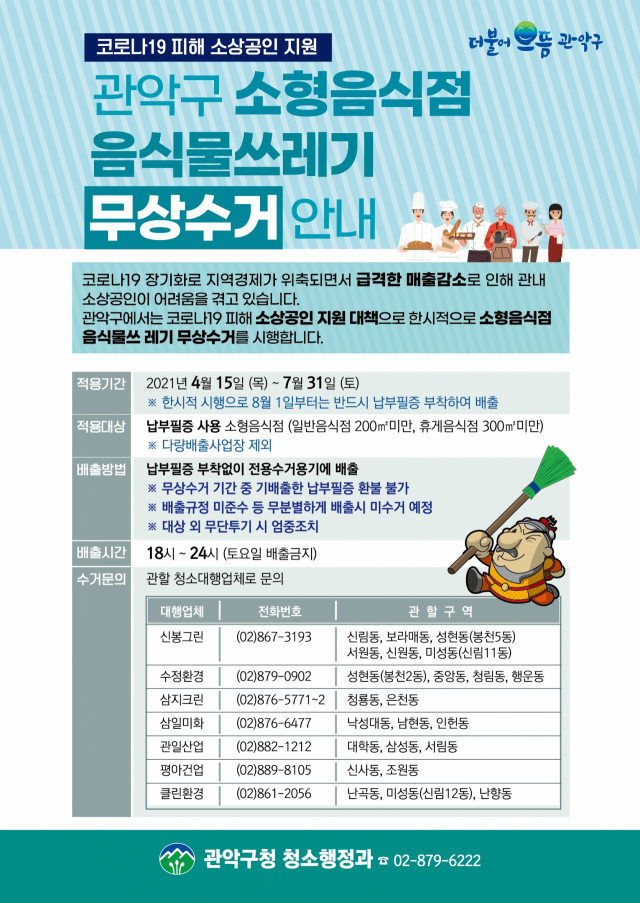서울 관악구, 소형 음식점 음식물쓰레기 무상 수거