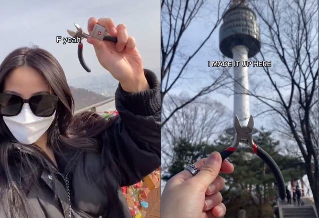[영상]'잘 가, 전 남친' 9,500km 날아와 남산공원 자물쇠 끊은 美 20대