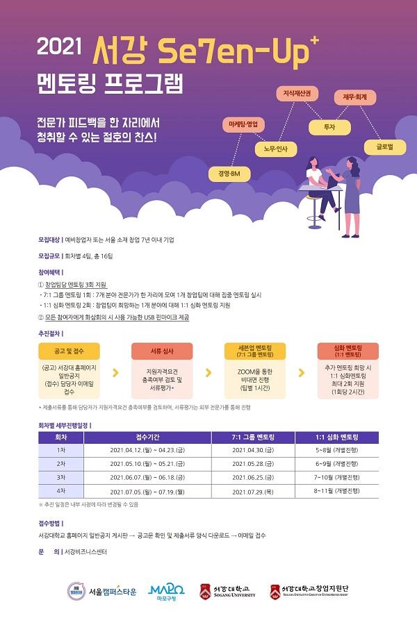 서강대학교, 창업자·기업 대상 '2021 서강 Se7en-Up+ 멘토링 프로그램' 4회차 개최