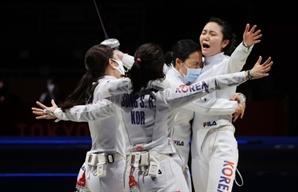[사진] 세계 1위 중국 넘었다…女 펜싱 에페 단체, 9년 만에 결승행