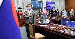 """文·장관들, 한복 입고 국무회의...""""한복 종사자 위로"""""""