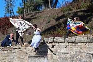 """베이징 올림픽 성화 채화식서 반중 시위…""""인권 탄압 말아야"""""""